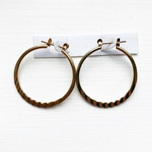 Small brassy gold thin & textured hoop earrings